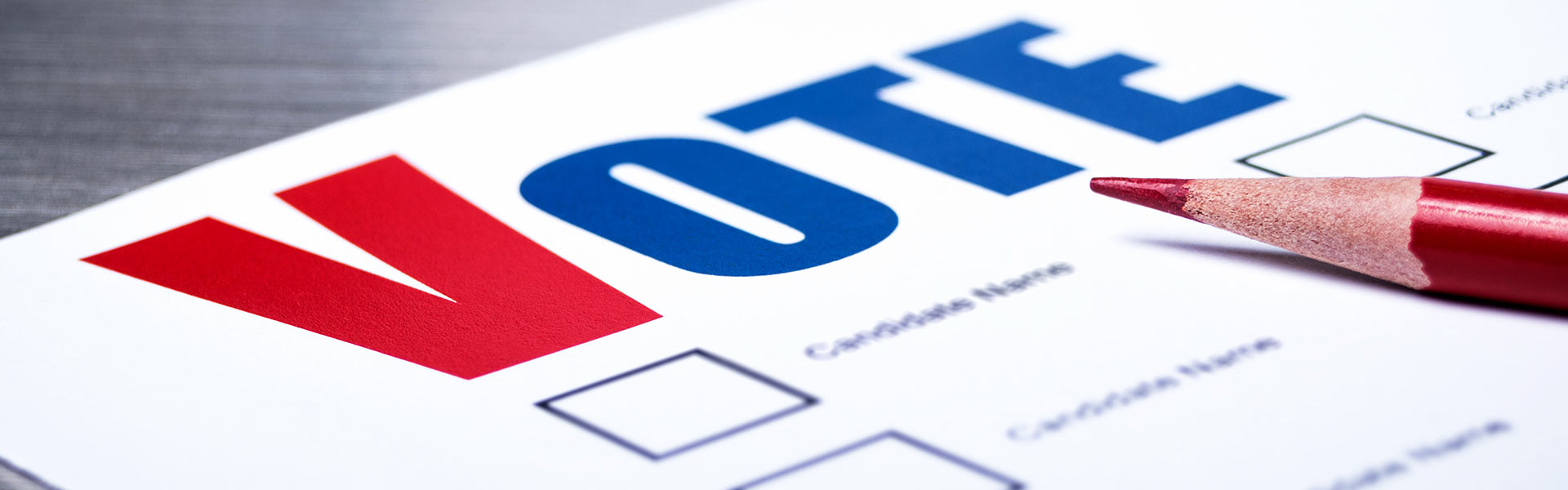A close up of a ballot