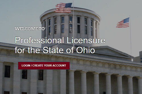 Login screen for eLicense system