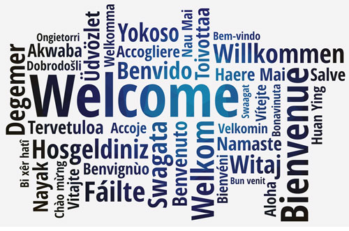 The word welcome in many different languages