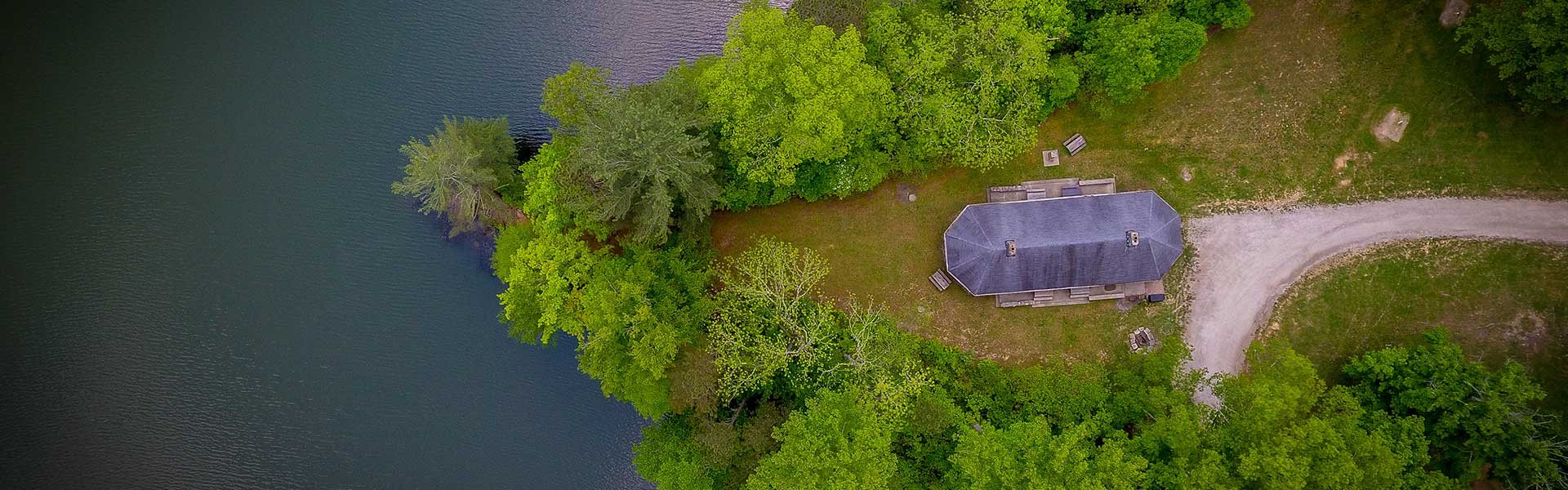 An aerial view of Lake Hope State Park