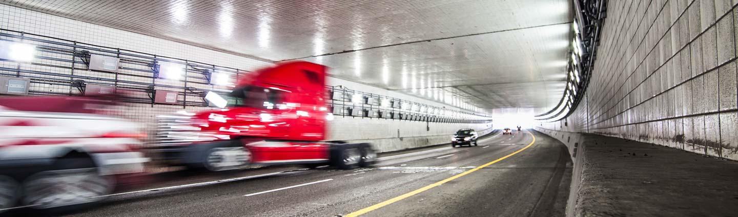 A truck in a tunnel