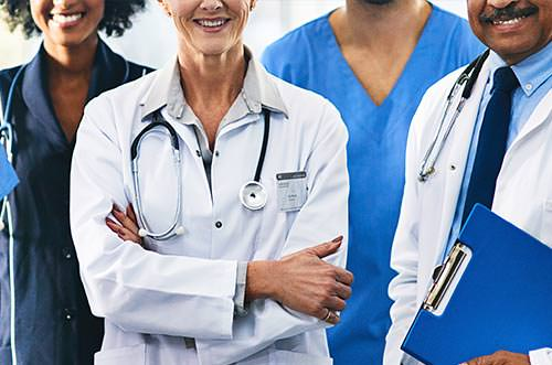 Medical professionals standing in a row