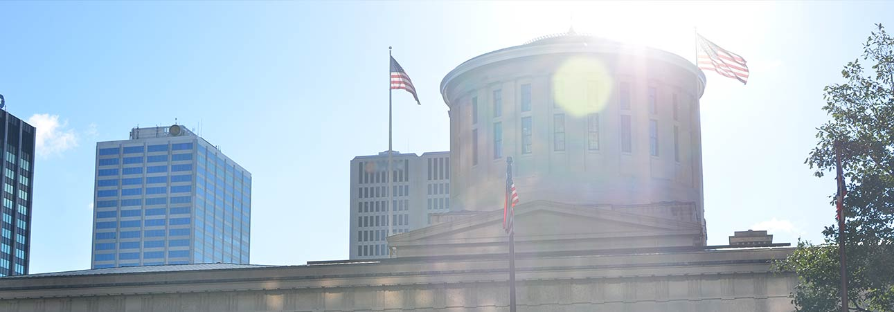 Sunshine behind the Ohio Statehouse