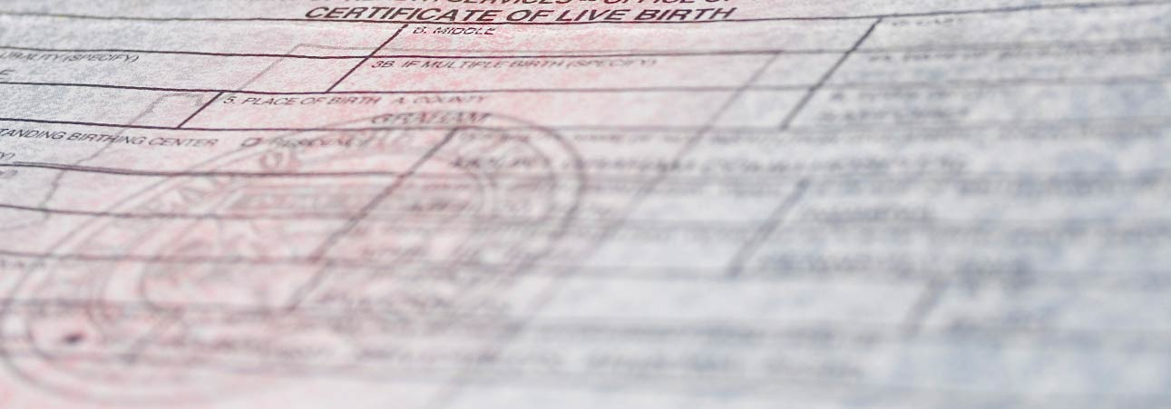 An abstract photo of a birth certificate